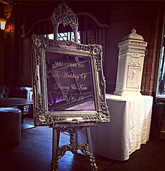 Ornate Easel & Mirror Welcome Sign - Sil