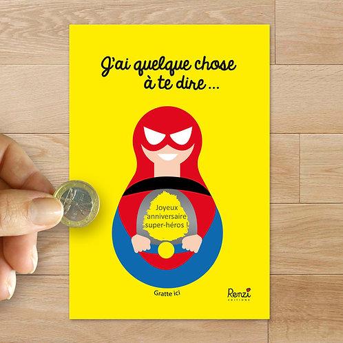 Carte à gratter anniversaire super-héros