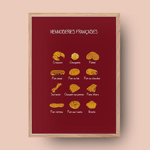 Affiche de cuisine / Viennoiseries françaises