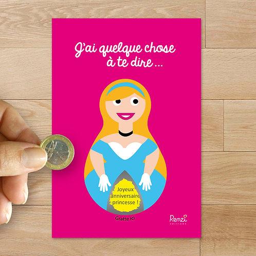 Carte à gratter anniversaire princesse