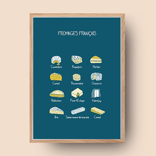 Affiche de cuisine / Fromages français / French cheese