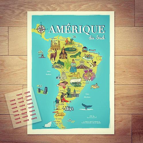Carte de l'Amérique de Sud
