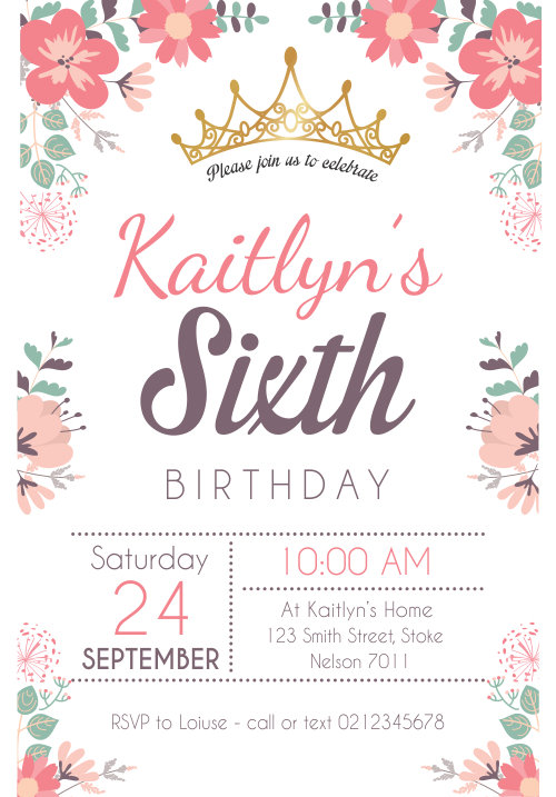Girls Floral Birthday Invitation - Download & Print