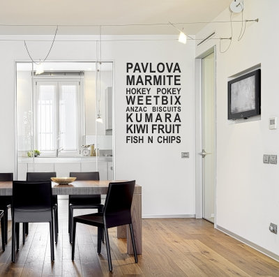 Kiwi Food Icons Wall Quote