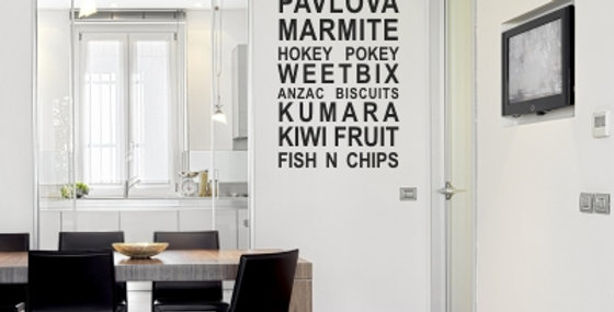 Kiwi Food Icons Wall Quote