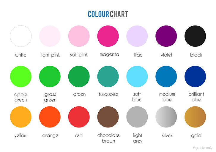 colour chart for Cheeky Raskal custom wall decals