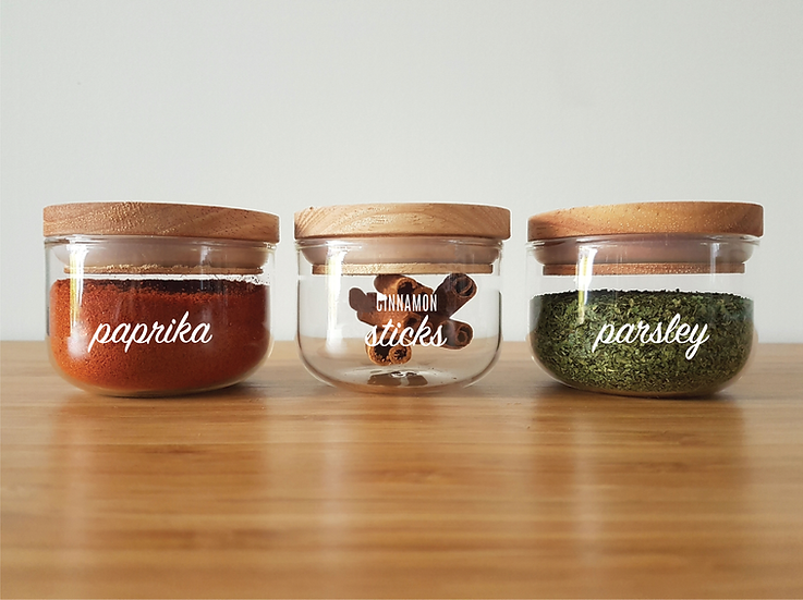 ORDERLY Herb & Spice Canisters - 125ml | Set of 10 with custom labels
