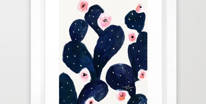 Cactus Bloom Midnight - by Crystal Walen FRAMED print