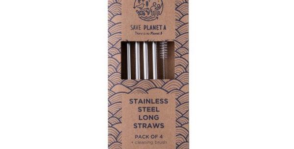 Stainless Steel Long Straws 4pk