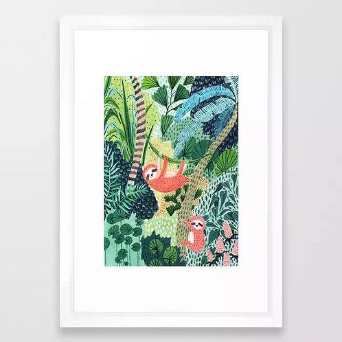 Jungle Sloth Family - FRAMED Art Print