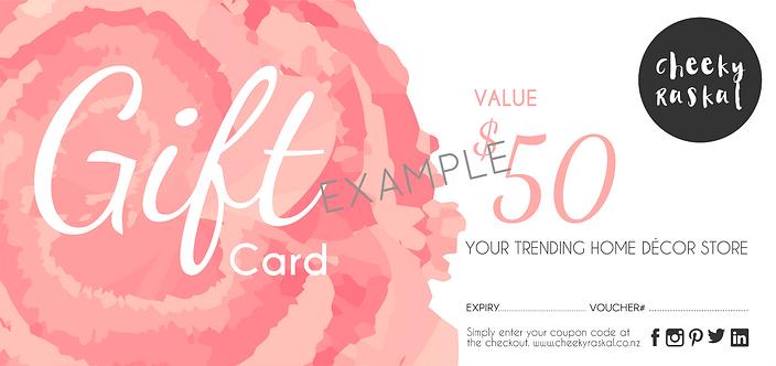 $50 Cheeky Raskal Gift Certificate