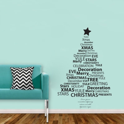 Christmas tree in text Decal