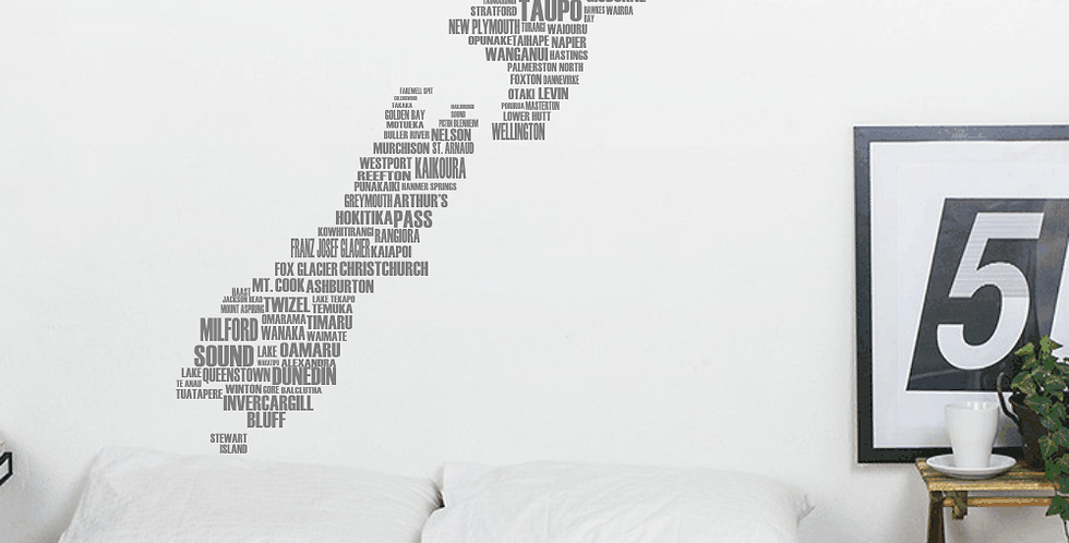 New Zealand Map in Text Decal