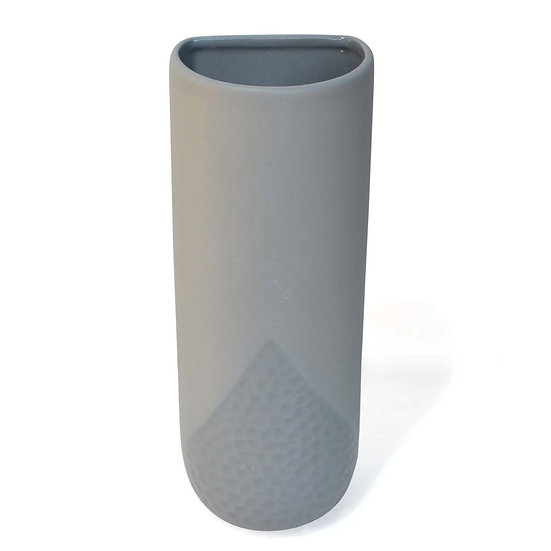 Ceramic Wall Vase With Indentation Pattern - GREY