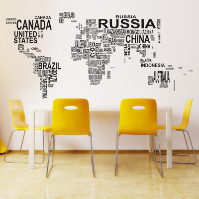 World Map in Text Decal