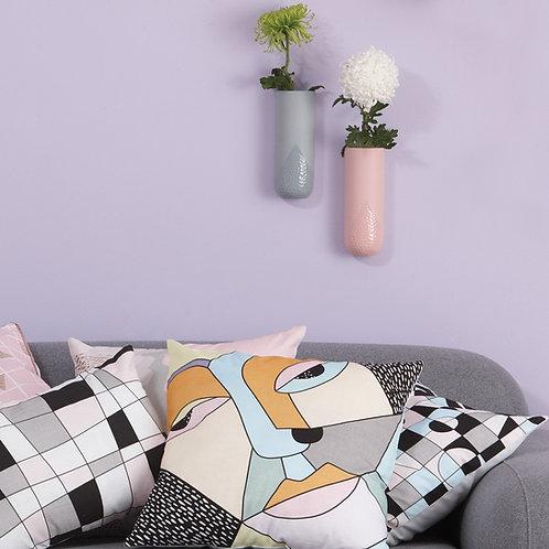 Ceramic Wall Vase With Indentation Pattern - PINK