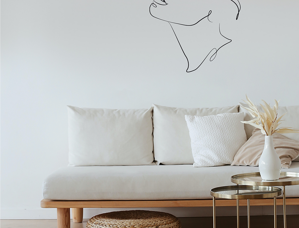 Abstract line art face decal