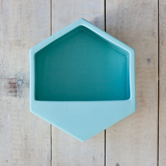 Hexagon Wall Planter - Turquoise (Large)