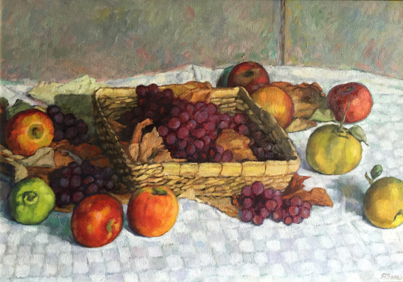 STILL LIFE WITH BASKET OF GRAPES