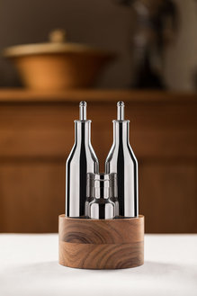 Steel bottle with salt and pepper