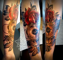 tattoo by sinister sams torey of compass and rose