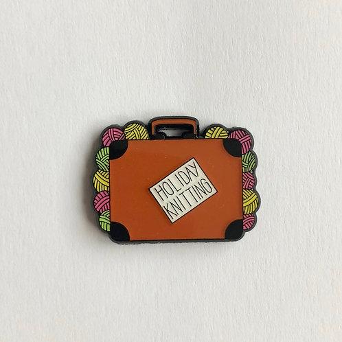 Holiday Knitting Pin badge