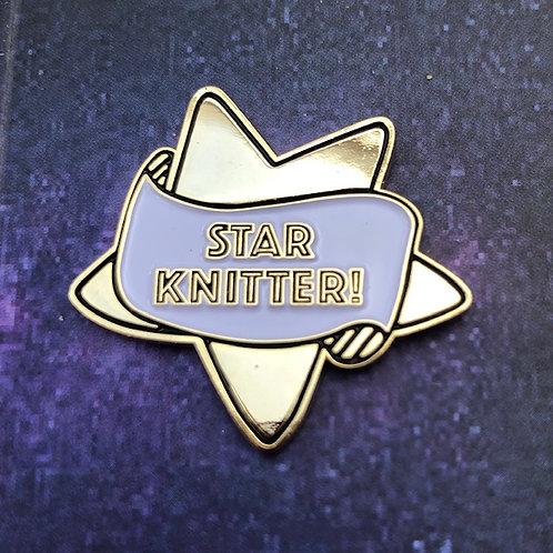 Star Knitter pin badge