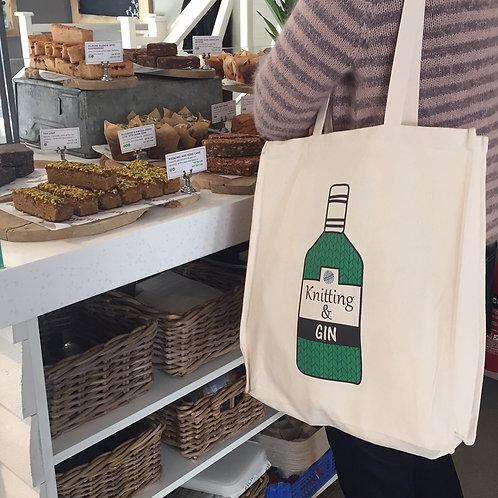 Knitting & Gin Tote Bag