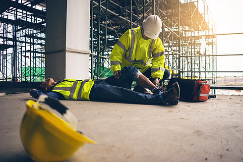 First aid support accident in site work,