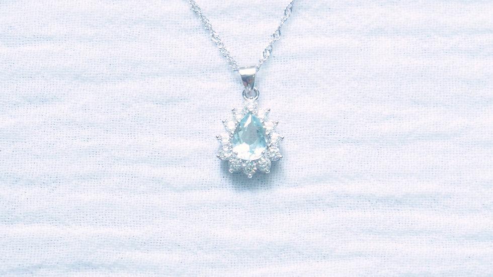Aqua drop pendant necklace