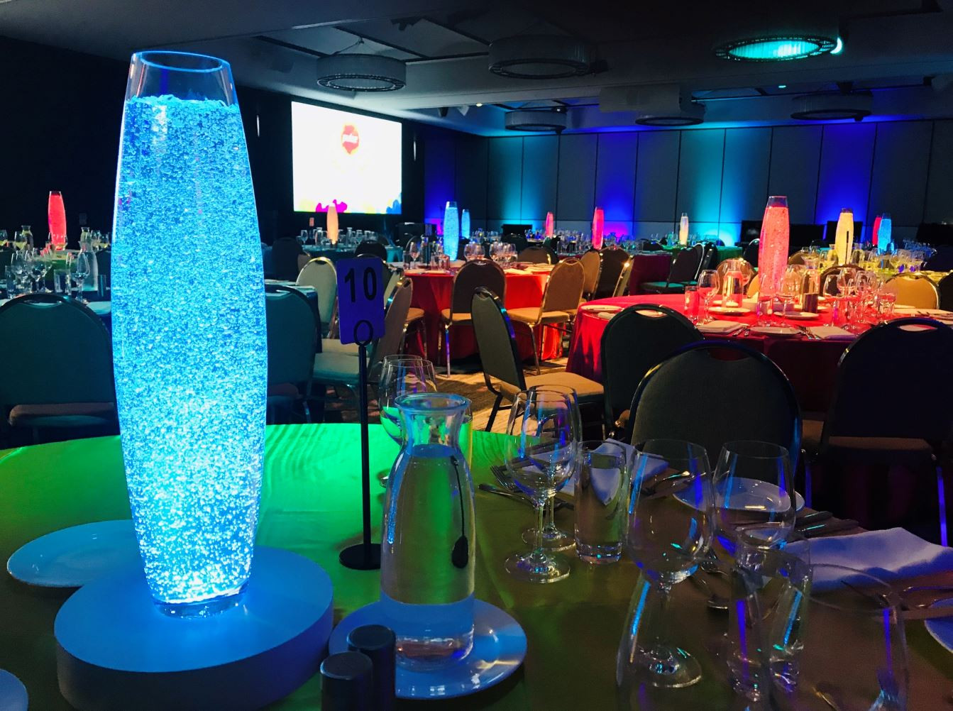 Colourful Vase Centrepieces