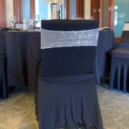 Silver Sequin Chair Band