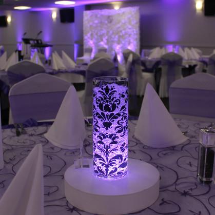 Glowing Damask Vase Centrepiece