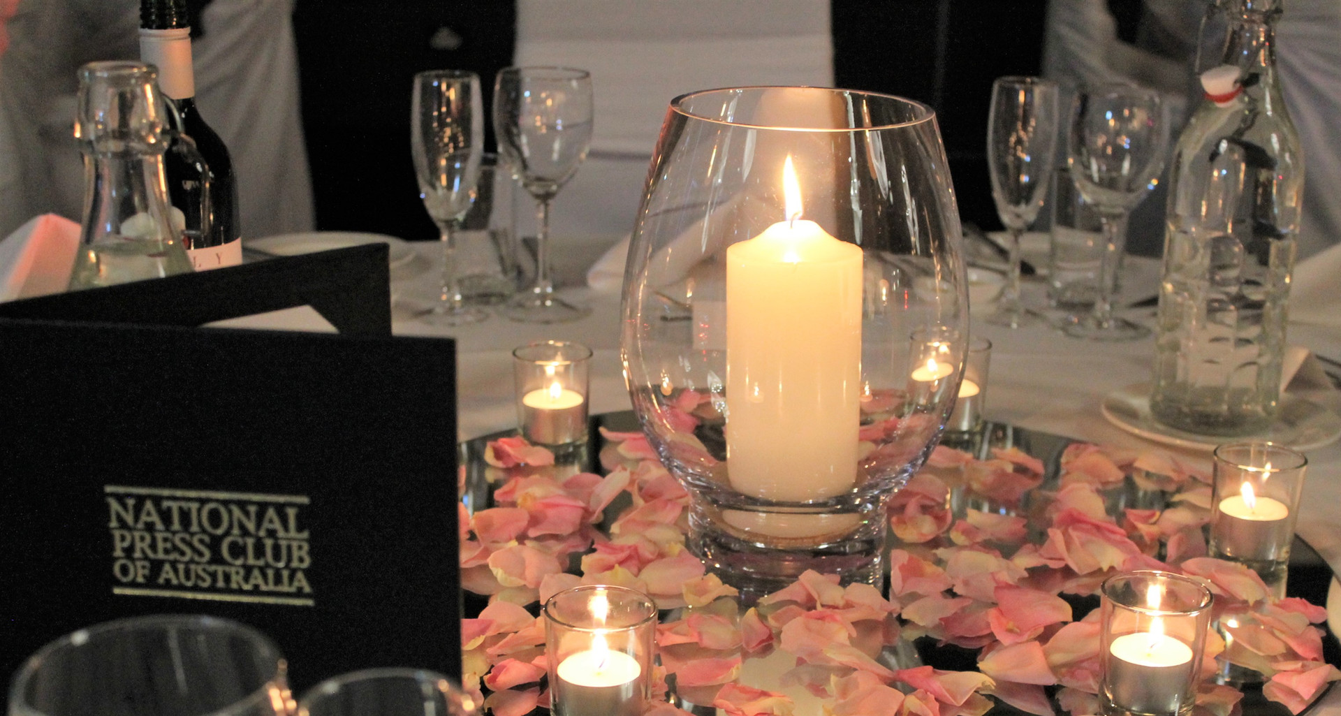 Candle in Vase Wedding Centrepiece