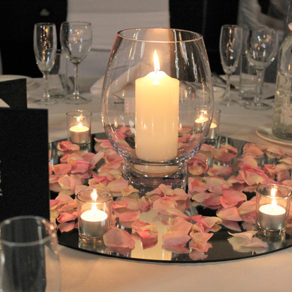 Candle in Vase Wedding Centrepiece