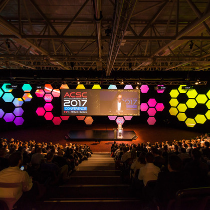 Conference Stage Set Hexagons