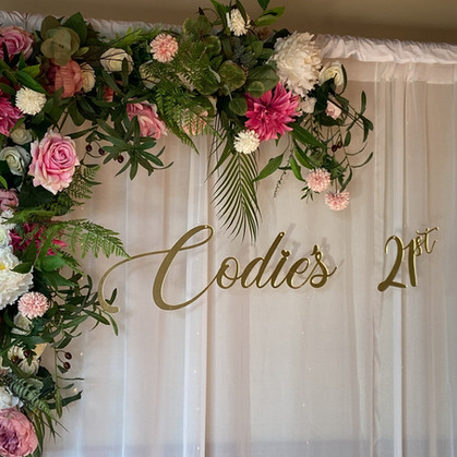 Backdrop with faux florals