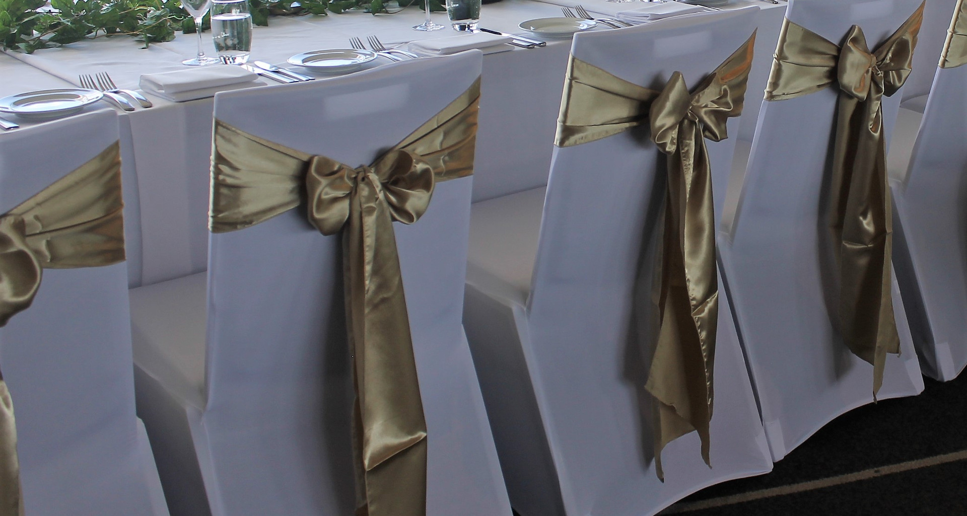 Champagne Gold Satin Chair Bows