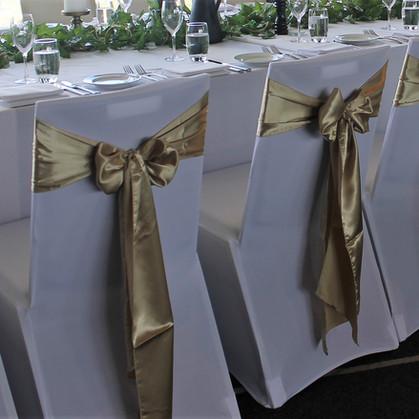 Champagne Gold Satin Chair Bows