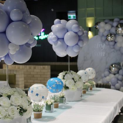 Hot air balloon topiary centrepieces