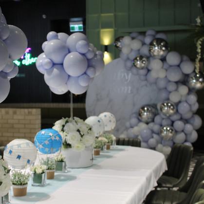 Hot air balloon topiary centrepiece