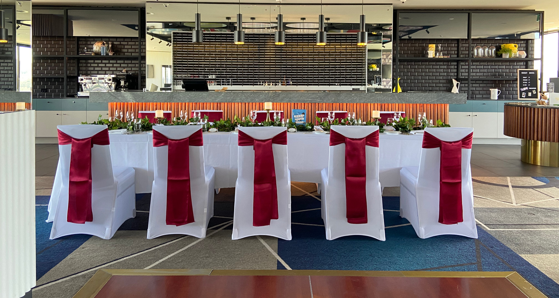 QT Canberra wedding with burgandy sashes