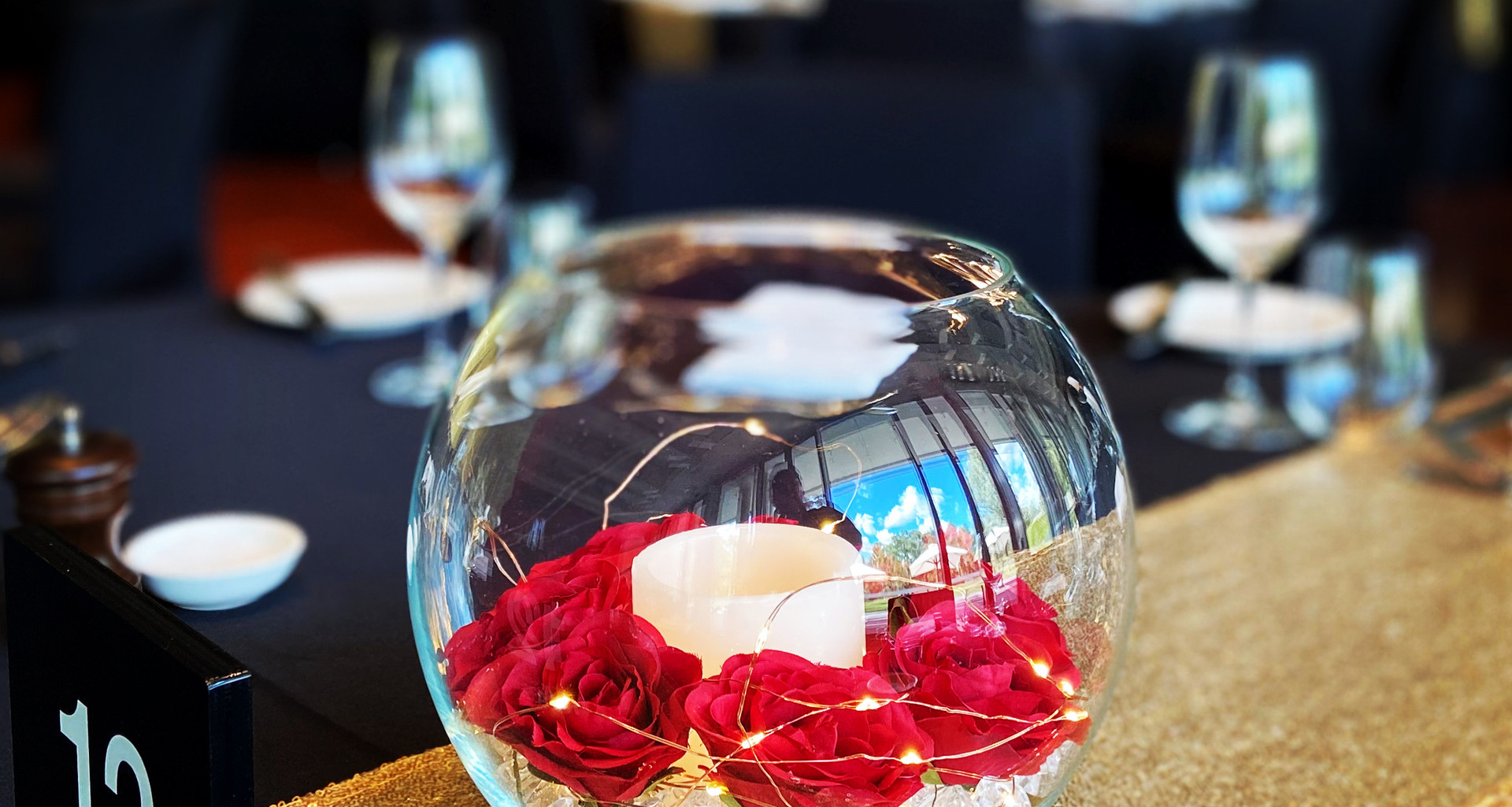 Fishbowl with Flowers Centrepiece