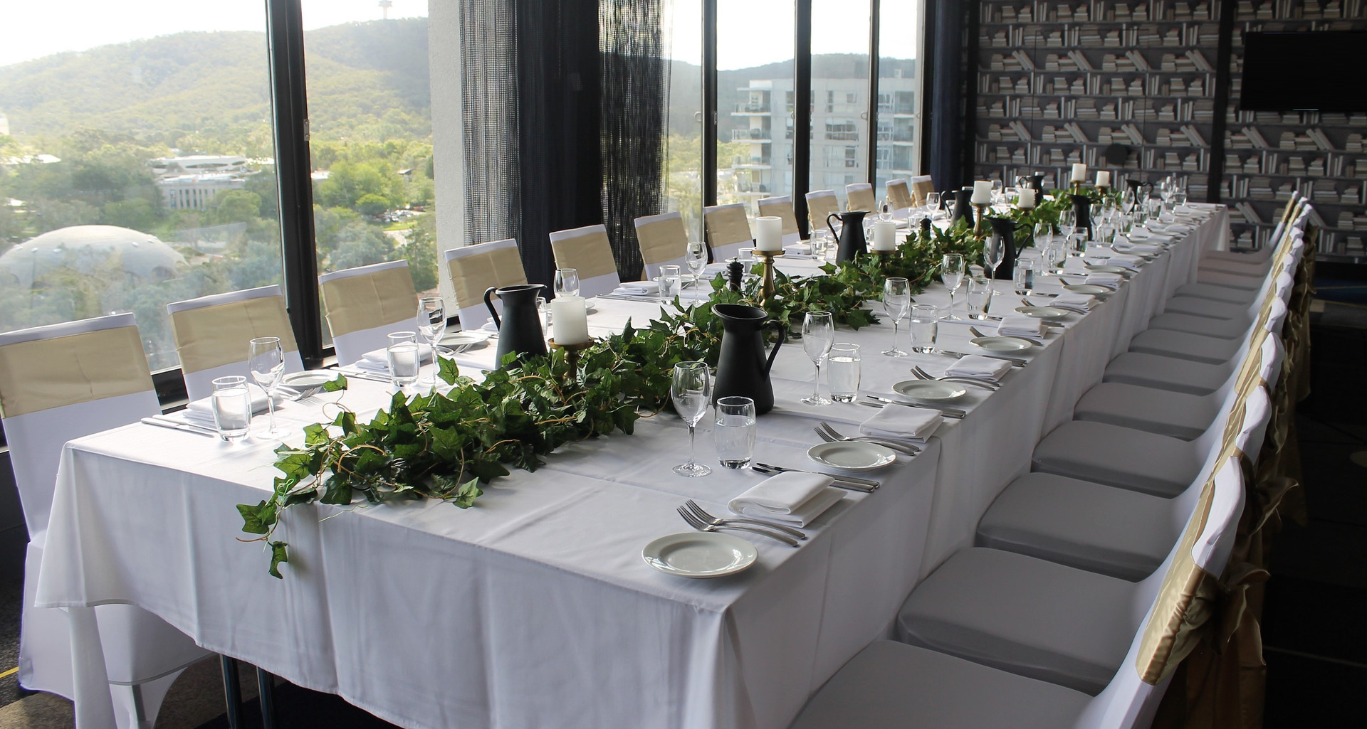 Long Wedding Table with Greenery