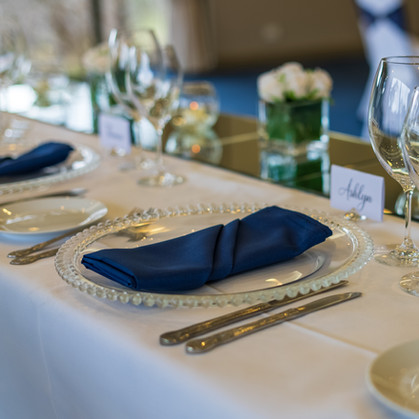 Navy Napkin on Glass Beaded Charger Plate