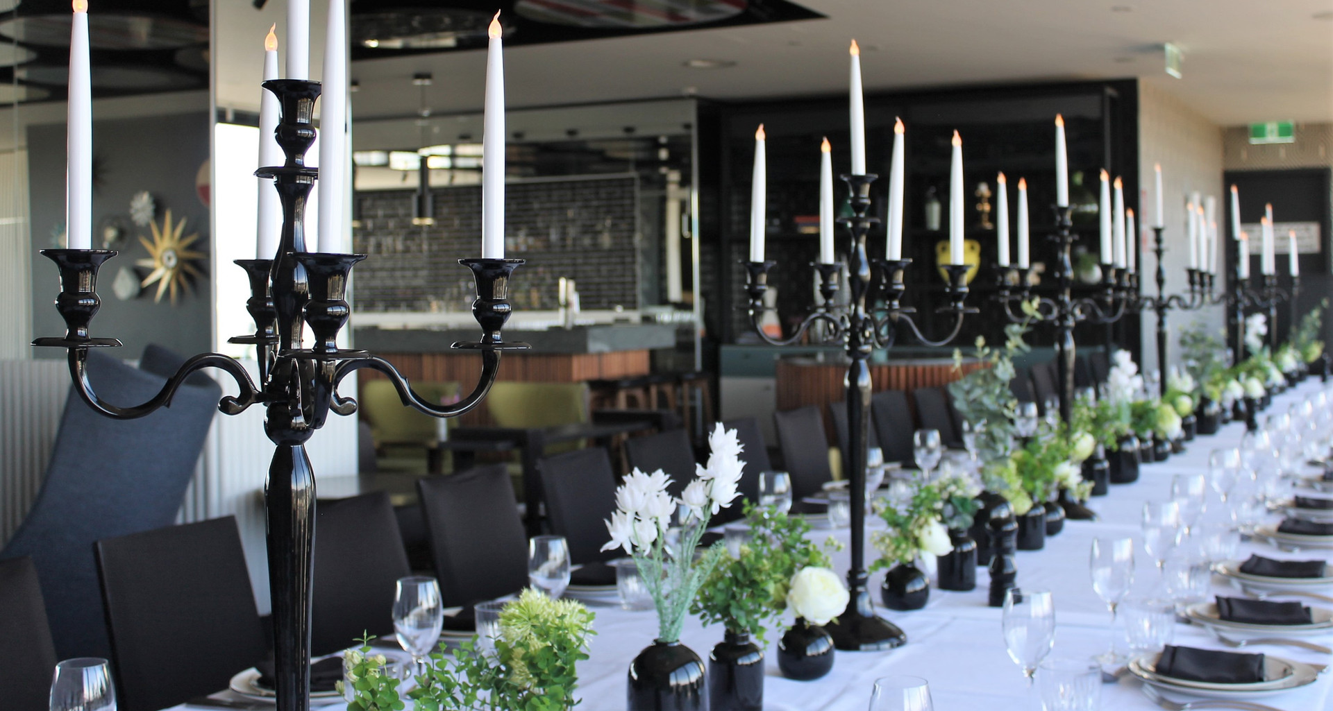 Black Candelabras on Long Wedding Table