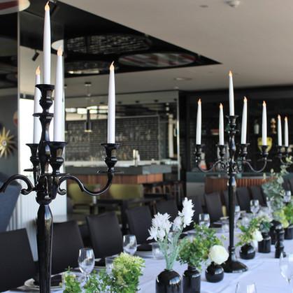 Black Candelabras on Long Wedding Table