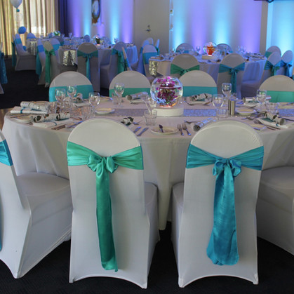 2 Shades of Blue Chair Sashes on White Chair Covers