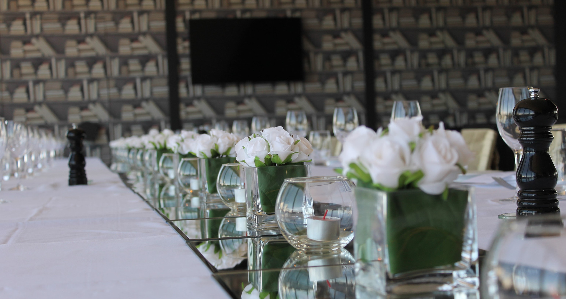 Flowers and Candles on Long Table