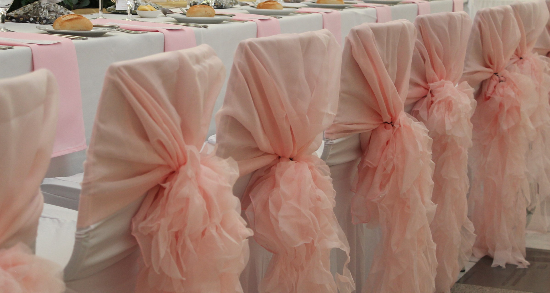 Pink Organza Chair Hood Covers